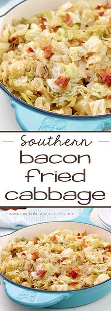 Southern Bacon-Fried Cabbage - You'll want to make this Southern Bacon-Fried Cabbage again and again! It's hard to believe that such simple ingredients could result in such a flavorful and delicious side dish!