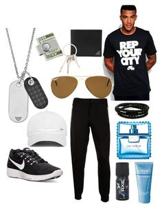 """Untitled #6"" by zazayana ❤ liked on Polyvore featuring NIKE, McQ by Alexander McQueen, Ray-Ban, Porsche Design, Emporio Armani, Prada, American Coin Treasures, Givenchy, Versace and Axe"