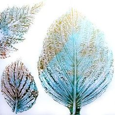 Printing with Gelli Arts®: When printing items with fine details, like leaves and feathers — place them vein-side down into the paint for the best prints. That's where the texture is more prominent. You can pull an almost photographic ghost print!