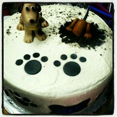 "Dog Cake- Edible toppers - this is so cute!  I love the dog ""digging"" into the cake!"