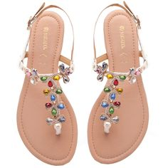 White sandal with multi-colour stones