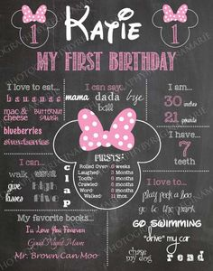 Minnie Mouse First Birthday Chalkboard