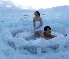 Ice Hotel bathroom in Hokkaido, Japan.