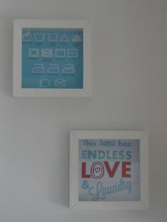 DIY decoratie wasruimte Laundry room art in kadertjes van Ikea