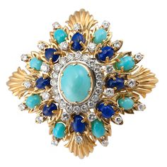 Large Diamond Turquoise and Lapis Brooch | $11,000