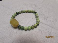Green Beaded Bracelet by BeaderBubbe on Etsy