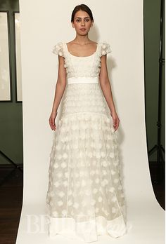 "Temperley Bridal - Fall 2014. ""Gwyn"" A-line wedding dress with a scoop neckline and short sleeves, Temperley Bridal"