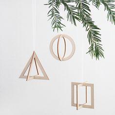 christmas decoration SNUG.TRIO 3 wooden pendants van SNUG.STUDIO op DaWanda.com