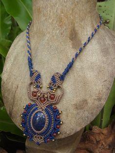 Macrame Necklace Pendant Lapis Lazuli Stone Gemstone Handmade Handcrafted