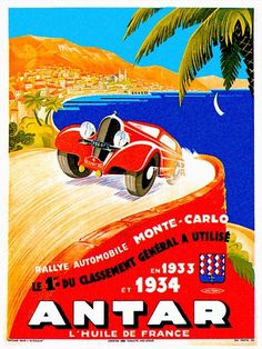 """""""Antar Gas ~ Vintage Auto Road Race Advertisement"""" by Johnny Bismark, Tropical Oasis // Imagekind.com – Buy stunning, museum-quality fine art prints, framed prints, and canvas prints directly from independent working artists and photographers."""