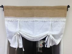 Linen Tie-Up Curtains White Pull-up Valance Shabby Chic