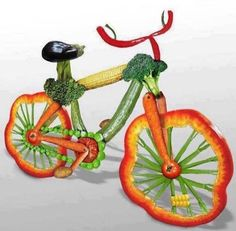 The visual we #cyclists need when we start to reach for the candy instead of the carrot. Veggie #bike, anyone? (Artist unknown) #cycling #biking