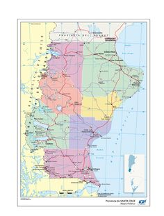 Mapa político de Santa Cruz - Instituto Geográfico Nacional de la República Argentina