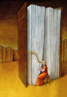 Illustrations about books – Pawel Kuczynski – Beautiful notes - Books Art And Illustration, I Love Books, Books To Read, Canvas Artwork, Canvas Prints, Art Du Monde, Satirical Illustrations, Political Art, What Book