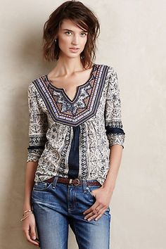 Anthropologie Silverpoint Peasant Top #anthrofav #greigedesign