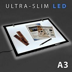 Cherry Juilt Artcraft Light Pad Ultra-Slim LED Design Tracing Light Box 14 Inch Brightness Tatoo Pad Ideal for Stenciling Sketching Designing Drawing Light Box, Pencil Crafts, Format A3, Plate, Art And Craft Design, Photo Work, Luz Led, Photo Craft, Lighting Solutions
