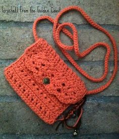 Crochet Cross Body Small Shoulder Bag  in pumpkin by CrochetFTGC