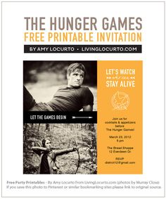 The Hunger Games movie party - free printables