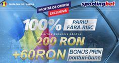 Bonus exclusiv doar astazi la Sportingbet: depui 40 RON si pariezi cu 100 RON - Ponturi Bune