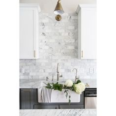 Gray and White and Marble Kitchen Reveal ❤ liked on Polyvore featuring home and home improvement