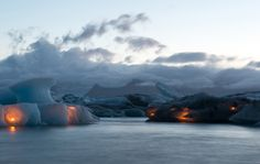 The photo was taken during the annual firework show in Ice lagoon (Jokulsarlon) in South Iceland.