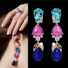 Anabela Chan. The luscious Sapphire Berry Earrings with detachable drops.  Tutti Frutti Collection.