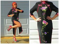 Vintage Sexy Black Cheongsam with Pink and Red by Enchantedfuture