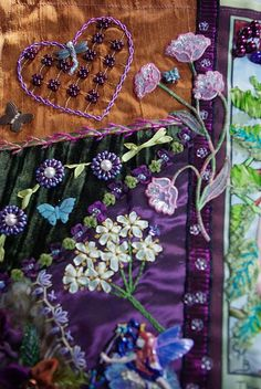 I ❤ crazy quilting & ribbon embroidery . . . The fairies wings were stitched #4 braid.  The leaves are silk ribbon and silk chenille with silk floss for veining.  The elderberries are size 6/0 beads. ~By Betty Pillsbury