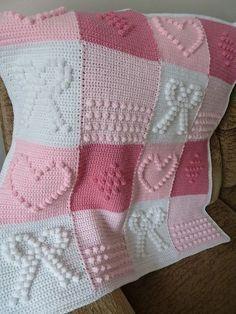 Crochet Bobble Heart and Bowknot Blanket Free Pattern - Lap Blanket, Crochet Craft, Pink Blanket