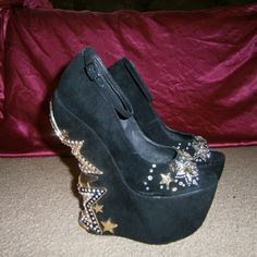 Zigi axis wedge 8 inch gold plated rhinestone wedge heel, 3 inch open toe platform. zigi Shoes Wedges