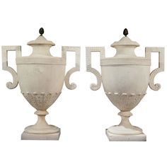 Pair of White Marble George III Period Urns  | From a unique collection of antique and modern decorative objects at http://www.1stdibs.com/furniture/more-furniture-collectibles/decorative-objects/