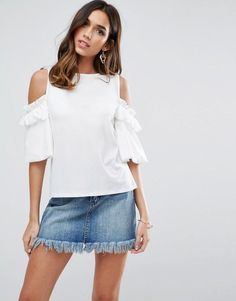 ASOS Top in Crepe with Cold Shoulder Pretty Ruffle Puff Sleeve - Pink