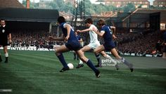 3rd June 1971. Allan Clarke takes on the Juventus duo Sandro Salvadore and Francesco Morini in the Fairs Cup Final, 2nd Leg. Elland Road.