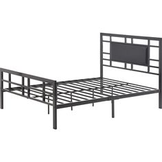 Full Size Modern Classic Metal Platform Bed Frame with Black Upholstered…