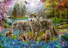Spring Wolf Family by Jan Patrik Krasny