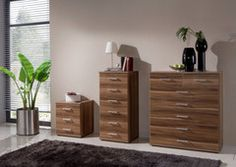 Chest of Drawers 5+2 and Bed Side in walnut and white 100% German made