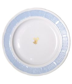 Korb Plate with Blue Rim and Gold Floral Detail  Hand Painted Porcelain with 24 Carat Gold Accents  Item Number: Korb No. 2050