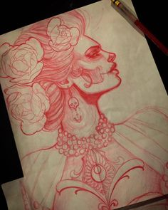 Red pencil sketch by Jeff Norton : Original Art Tattoo Sketches, Tattoo Drawings, Art Sketches, Art Drawings, Fantasy Girl, Day Of The Dead Girl, Catrina Tattoo, Sugar Skull Art, Flash Art