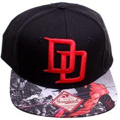 e4fe36ffd2b37 Black Daredevil DD Logo Sublimated Bill Snapback Baseball Cap - CJ12857O56V