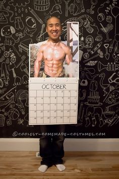 Last-Minute DIY Mr. October Fireman Calendar Costume So for Halloween at work this year, my team was looking for a great idea to do as a large group. We needed ideas and we needed a lot of them. So I sug. Creative Halloween Costumes, Cute Halloween, Cool Costumes, Costumes 2015, Original Halloween Costumes, Costume Ideas, Funny Mens Costumes, Group Halloween Costumes For Adults, Funny Group Halloween Costumes