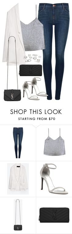 """""""Untitled#4347"""" by fashionnfacts ❤ liked on Polyvore featuring J Brand, Rosie Assoulin, Zara, Stuart Weitzman, Yves Saint Laurent and Free People"""