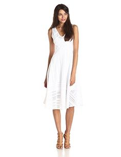 Tracy Reese Women's Striped Fence Lace Fit and Flare Dress