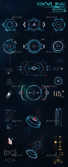 HUD Elements - Decorative Symbols Decorative This is such a good representation of the future. These fine lines are a great basis for a brand of the future. I love it.