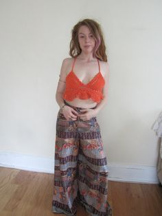 ORANGE CROPPED TOP, crochet  halter crop top, festival clothing, Bohemian top, crochet halter top, beachwear, gypsy, burning man,  ,