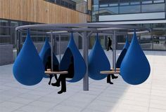 Liquid Study Spaces - The Droplet Outdoor Workspace Encourages Students to Get Outside (GALLERY) Creative Office Space, Office Space Design, Workplace Design, Office Interior Design, Office Interiors, Office Spaces, Small Office, Blue Office, Office Pods