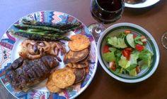 Grass Fed Beef, Shrimp, Sweet Potato Chips, Salad & Asparagus looks beautiful!