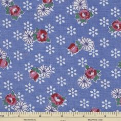 Full Vtg Feedsack 45x6 Small Red and White Floral Blue