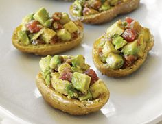 Thanksgiving Potatoes with Walnut Guacamole à la Mode via Vegetarian Times Potato Skins, I Love Food, Good Food, Yummy Food, Guacamole, Vegetarian Recipes, Healthy Recipes, Vegetarian Times, Vegetarian Dish