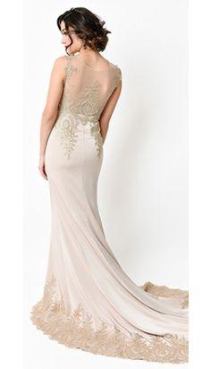 1930s Style Dark Beige & Gold Filigree Bias Cut Satin Gown