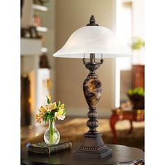 Kathy Ireland Alabaster Glass Mulholland 2-Light Table Lamp